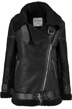 W118 by WALTER BAKER Frankie shearling-trimmed textured-leather jacket