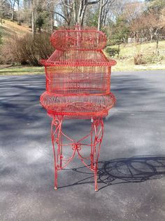 Vintage Victorian Style Red Standing Hanging Bird Cage 2 Piece