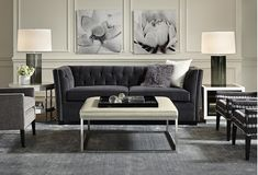 The fabulous Fiona in rich charcoal velvet--it's hard to believe she's a sleeper. Full or queen size. Here's a luxurious living space that doubles as a guest room - MITCHELL GOLD + BOB WILLIAMS Living Room Designs, Living Room Decor, Living Area, Clean Sofa, Transitional Living Rooms, Transitional Sofas, Mitchell Gold, Square Ottoman, Guest Room Office