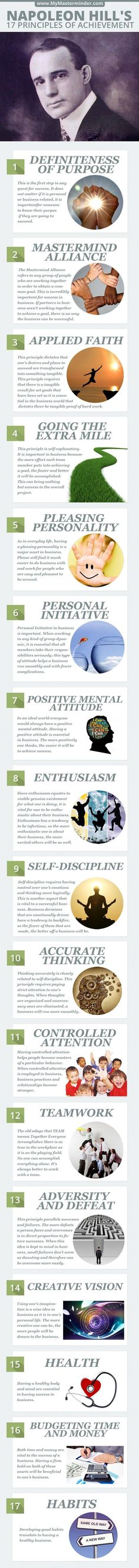 Napoleon Hill's 17 Principles of Personal Achievement, Leadership Leadership Development, Self Development, Personal Development, Napoleon Hill, Life Skills, Life Lessons, Lessons Learned, Personal Achievements, Success Principles