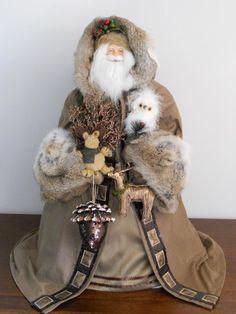 Outdoor Santa Collectible: Faux leather jacket.  Extensive tan rabbit fur on cuffs & hood / Custom Holiday Santas
