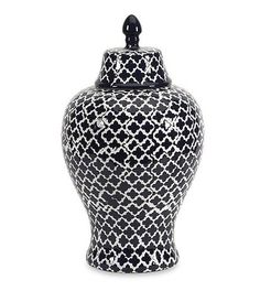Classic Navy Blue and White Quatrefoil Ginger Jar - easy home accents to add pattern.