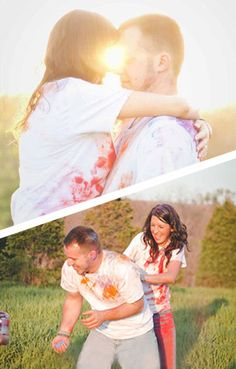 Michelle + Dallas as our Featured Engaged Couple | Bride Meets Wedding | Iowa, Illinois and Wisconsin Bridal Resource | Photos by Duggan Photography | Fun paint fight engagement pictures