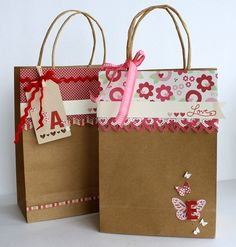 Idea para decorar una bolsa de regalo. I ♥ #Dialhogar  http://pinterest.com/dialhogar/  ❥ http://dialhogar.blogspot.com.es/