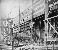 The 'Great Eastern' under construction at Millwall on 18 August Photo by Joseph Cundall Isambard Kingdom Brunel, Isle Of Dogs, Merchant Marine, London History, Maritime Museum, Old London, Submarines, Tall Ships, Boat Building
