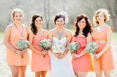 coral bridesmaid dresses  | photo by Anna Jaye | 100 Layer Cake