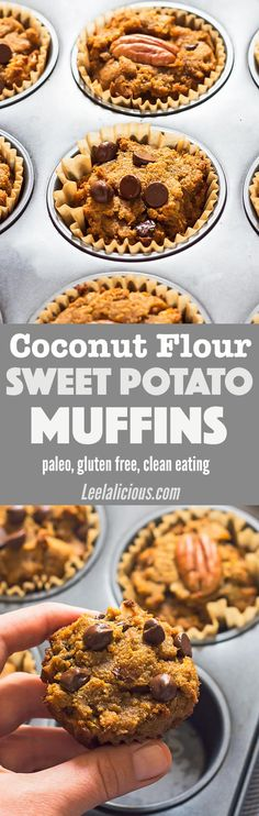 These delicious and moist Paleo Sweet Potato Muffins are a great make-ahead and take-along breakfast. They are made with coconut flour, therefore gluten free and grain free! Low carb and keto option.  Recipe | Coconut Oil | Maple Syrup | Chocolate Chips | Pecans | Simple | Clean Eating | Treats | Desserts