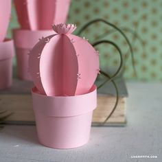 3D Potted Paper Cactus