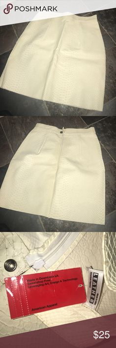 White Snack Skin Leather AA Skirt Brand new w tags size S American Apparel Skirts Mini