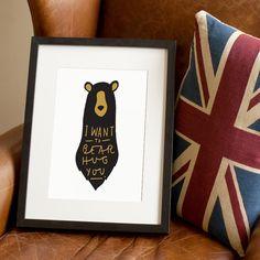 Bear hug Print A4. £15.00, via Etsy.