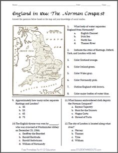 Norman Conquest (England, 1066) Map Worksheet | Free to print (PDF file). Includes 12 tasks and multiple-choice questions. Appropriate for grades 5-12.