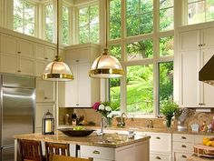 Windows above the cabinets, lets in natural light.