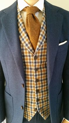 Rust and blue. Blue herringbone flannel Havana suit from Suit Supply and rust…