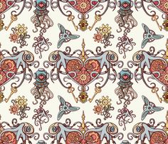 octopuses in love scale 50 fabric by chicca_besso on Spoonflower - custom fabric