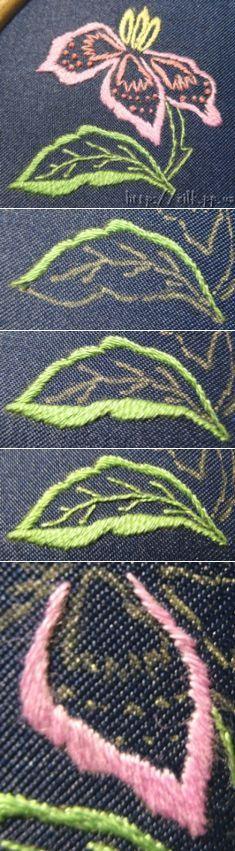 Contour planting and satin stitch knot... ♥ Deniz ♥