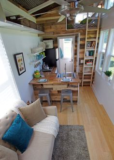 "An ""Open Concept"" floor plan tiny house —The  YOSEMITE— http://valleyviewtinyhouses.com/yosemite-tiny-house/ on FB facebook.com/ValleyViewTinyHouses"