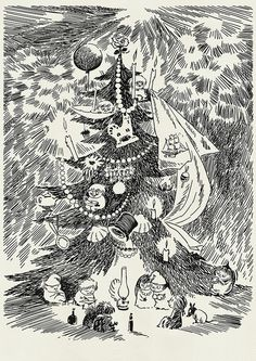 ♧ christmas in Moomin valley ♧ Tove Jansson Moomin Books, Lynda Barry, Moomin Valley, Tove Jansson, Children's Book Illustration, Looks Cool, Vintage Posters, Photo Art, Fairy Tales