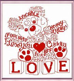 Lets Love Teddy cross stitch pattern by Ursula Michael.