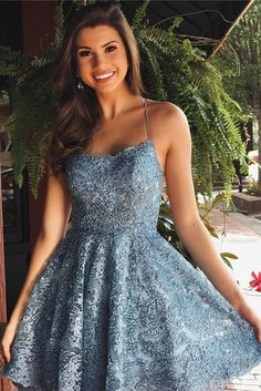 Charming Blue A-line Lace Spaghetti Straps Backless Homecoming Dresses Short, SH508. Hot selling blue homecoming dresses for teens, handmade of high quality fabric, and free custom size is available. #Homecomingdresses #homecomingdress #Partydresses #Homecoming #Dance #Girls #Shortpromdresses #Prom #Promdressesshort #Formaldresses #Eveningdresses #fashion #fashiondress #dress #graduationdresses #sweet16 #homecomingdresses2020 Dresses For Teens, Sexy Dresses, Short Dresses, Dresses With Sleeves, Casual Dresses, Elegant Dresses, Pretty Dresses, Summer Dresses, Formal Dresses