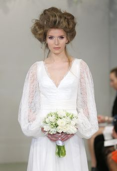 Voluminous bed head at the Theia Bridal Spring 2016 show // Wedding Hair and Makeup Ideas From Bridal Fashion Week
