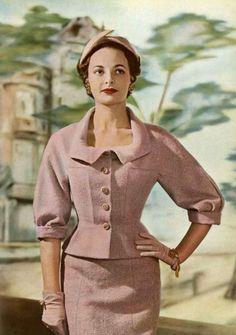 Suit fashion by Jean Dessès, 1954