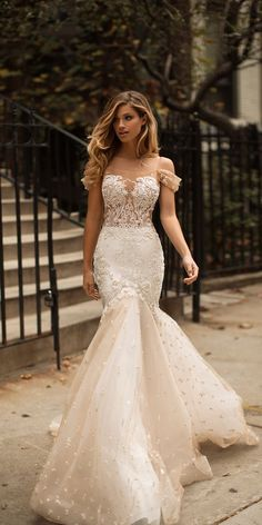 Milla Nova 2018 Off Shoulders Mermaid Wedding Dresses Sheer Neck Lace Appliques Illusion Bodices Bridal Gowns Wedding Gowns Vestios De Novia Lace Wedding Dress, Applique Wedding Dress, Dream Wedding Dresses, Bridal Dresses, Wedding Gowns, Lace Dress, Bridesmaid Dresses, Tulle Wedding, Lace Applique