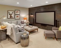 Family room basement with home theatre and wood wall