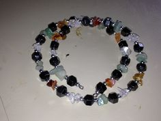 Hematite and Multi Stone Memory Wire Bracelet - pinned by pin4etsy.com