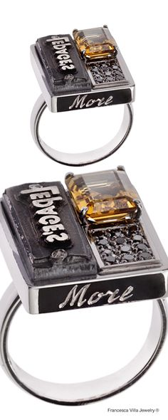 Tell Me More - Ring in white gold, black diamonds, citrine, vintage American seal