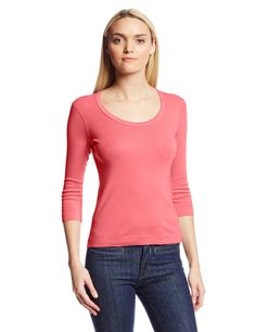 Three Dots Women's 3/4 Sleeve Scoop Neck Tee, Coral Sun, X-Small