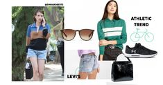 Rugby polo shirt, colour blocks and denim shorts. Thank you Emma for the inspiration! Such a cute look! Shirt Colour, Color, Athletic Trends, Emma Roberts Style, Urban Looks, Sporty Look, Celebrity Look, Street Style Looks, Fall Trends