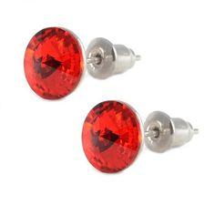 Náušnice Swarovski Elements pecky Rivoli 713fx1122-8-20 - červené 8mm - Bijoux Me! - bižuterie, šály a šátky Swarovski, Cufflinks, Accessories, Jewelery, Wedding Cufflinks