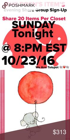 TIME TO SHARE 🐘❤️🐘 🎉 SHARE SHARE GROUP 🐘💔🐘😢 TOTSPOT MIGHT BE GONE BUT WE ARE ALL HERE TOGETHER AND LET'S MAKE SOME SALES💰💰💰❤️............................ SHARE 20 ITEMS PER CLOSET SIGNED UP👍🏻 BELOW🎉 STARTS AT 8:PM EST🌟 REMEMBER SHARING IS CARING! SHARE GROUP Other