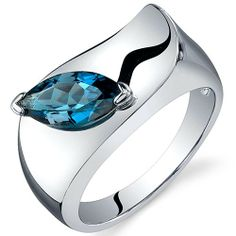 Amazon.com: Musuem Style Marquise Cut 1.00 carats London Blue Topaz Ring in Sterling Silver Rhodium Finish Available in Sizes 5 thru 9: Peora: Jewelry