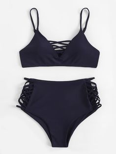 4981003b2b56c Thin Strap Caged Top With High Waist Bikini Set