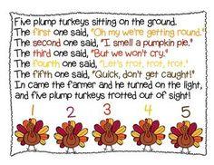 Five Plump Turkeys - Thanksgiving Shared Reading halloween fingerplays November Thanksgiving, Thanksgiving Preschool, Thanksgiving Art, Fall Preschool, Thanksgiving Projects, Preschool Music, Preschool Activities, Turkey Songs, Activities For Kids