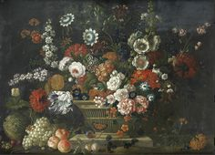 Pieter Casteels (1684-1749) —  Roses, Tulips, Hollyhocks, Poppies, Passion and Other Flowers in a Basket on a Stone (903×651)