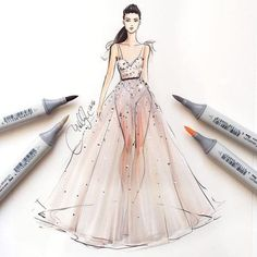 Fashion Sketches of Dresses