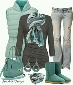 love the inclusion of ugg boots - really comfortable with a bit of style, Love the uggs and in love with this greenish blue teal color! Want and need this whole outfit, hehe :). Look Fashion, Teen Fashion, Runway Fashion, Fashion Women, Winter Fashion, Fashion Tips, Fashion Design, Fashion Trends, Komplette Outfits