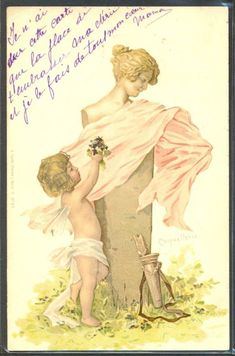 """JP083 SOCKL VIENNE ANGE ANGELOT CUPID ANGEL STATUE """"COQUETTERIE"""" Fine LITHO 1899"""