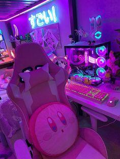 Cute Room Ideas, Cute Room Decor, Room Design Bedroom, Room Ideas Bedroom, Gaming Room Setup, Pc Setup, Otaku Room, Neon Room, Kawaii Bedroom