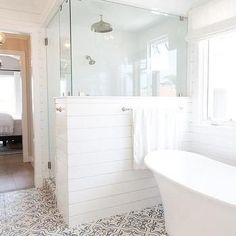 Glass and Shiplap Shower Enclosure