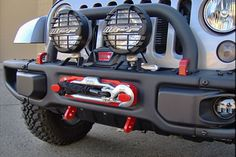 Maximus-3 Winch Mount Package shown with Red D-Ring Loops, Red Winch Hook Anchor, IPF 900XS Lights