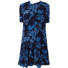 Stella McCartney asymmetric side skirt dress (€715) ❤ liked on Polyvore featuring dresses, blue, floral print dress, blue dress, blue asymmetrical dress, flutter-sleeve dress and ruffled dresses