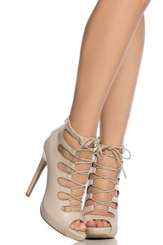 Nude Faux Leather Open Toe Lace Up Heels @ Cicihot Heel Shoes online store sales:Stiletto Heel Shoes,High Heel Pumps,Womens High Heel Shoes,Prom Shoes,Summer Shoes,Spring Shoes,Spool Heel,Womens Dress Shoes