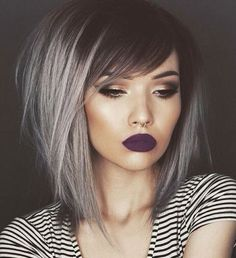 Medium Black Hair With Gray Balayage