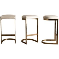 A Set of Three Cantilvered Brass Framed Barstools 1970s thumbnail 1