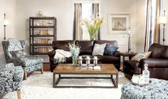 Inspiration for my new apartment living room - Bowery collection by angelo:HOME and big, cozy leather couch from SEI #cozy #home