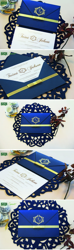 Convite de Casamento Clássico, modelo New York 27.8x19.5 , envelope e convite em papel Linear 250g, acabamento com as iniciais do casal e fita cetim com laço simples. #wedding #invite #casamento #convite #inspire #azul #dourado