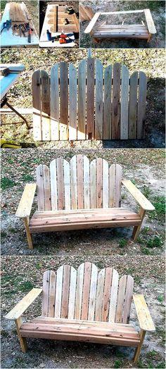 DIY Pallets Wooden Adirondack Bench